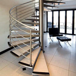 Wooden SS Spiral Staircase Railing