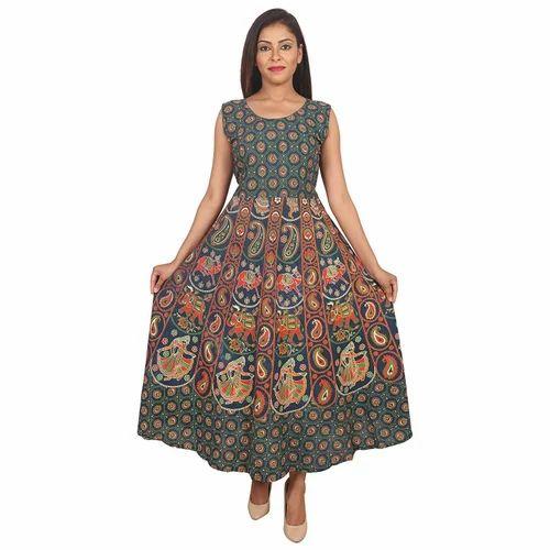 50102c5010 Cotton Animal Printed Jaipuri Maxi Dress