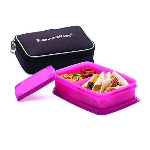 Pink Signoraware Compact Small Lunch Box With Bag