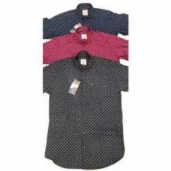 Cotton Collar Neck Mens Casual Dot Printed Shirts, Size: S-XXL