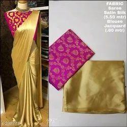 Plain Party Wear satin Saree with Banarasi Blouse, Size: free Size