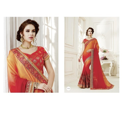 Chiffon Embroidered Party Wear Designer Saree