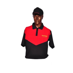 Black And Red Cotton Cafe Restaurant Worker T Shirt