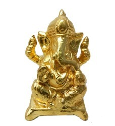 Gold Leafing On Ganesha
