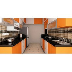 Parallel Shaped Wooden Modular Kitchen