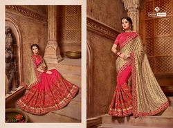 Indian Women Gold & Red Color Lycra Silk Saree