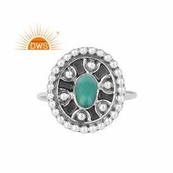 Arizona Turquoise Gemstone Antique Design Oxidized 925 Silver Rings