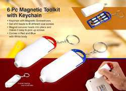 6 Pc Magnetic Toolkit With Keychain