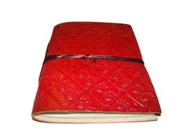 Pink Embossed Handmade Leather Diary