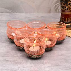 Crackle Glass 6 Pcs Votive Holders