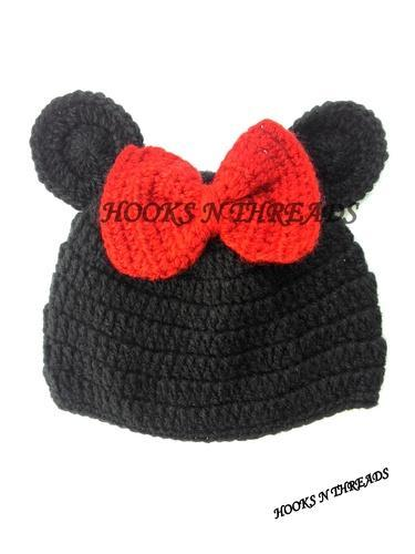 Hooks N Threads Red   Black Handmade Crochet Mickey Mouse Baby Hat ... 3a42ffa0157