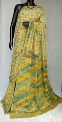 Yellow Traditional Hand Block Printed Cotton Saree