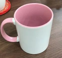 Plain Ceramic Sublimation Inner Handle Color Mug for Home, Capacity: 330 mL