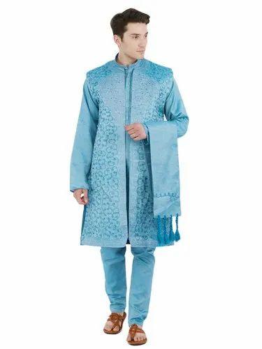 0d48205d9f SKAVIJ Men' s Dupion Art Silk Kurta Pajama Dupatta 4 Pieces (Turquoise)  Sherwani