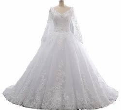 Christian White Wedding Gown With Sleeves