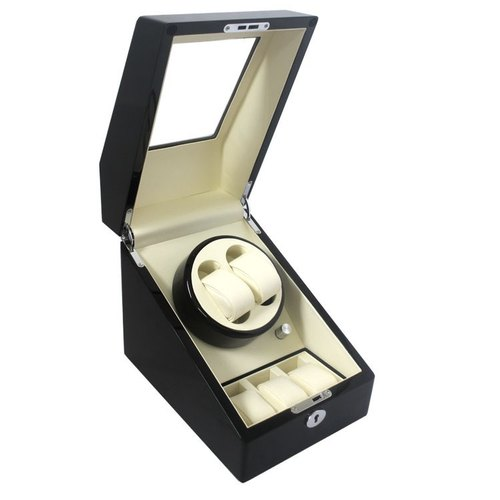 Automatic Watch Winder 2 3 Fashion Daul Channel Automatic Watch Winder,5  Modes 3 Box Case Locks Blac