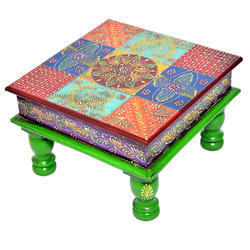 Wooden Bajot/Stool/Chowki Multicolored With Tiles Home Decor