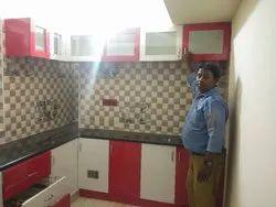 Wooden L Shape Modular Kitchen, Warranty: 1-5 Years