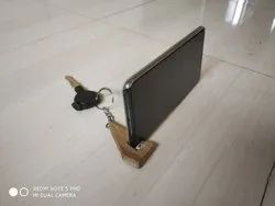Wooden Mobile Holder keychain, Size: Small