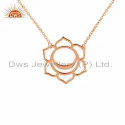 Svadisthana Chakra Rose Gold Plated Plain Silver Pendant