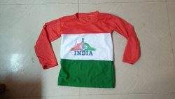 Round Full Sleeves Kids Tri-Colour T-Shirt