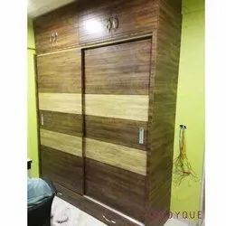 Woodyque Plywood Rectangular Wooden Wardrobe For Living Room