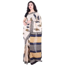 Casual Wear Cotton Saree Bagru Print, 5.2 M (separate Blouse Piece)