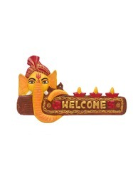 Ganesha Welcome Wall Hanging( Orange Yellow Shade)