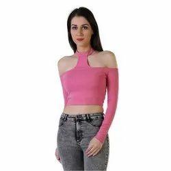 Pink Plain Ladies Full Sleeve Crop Top
