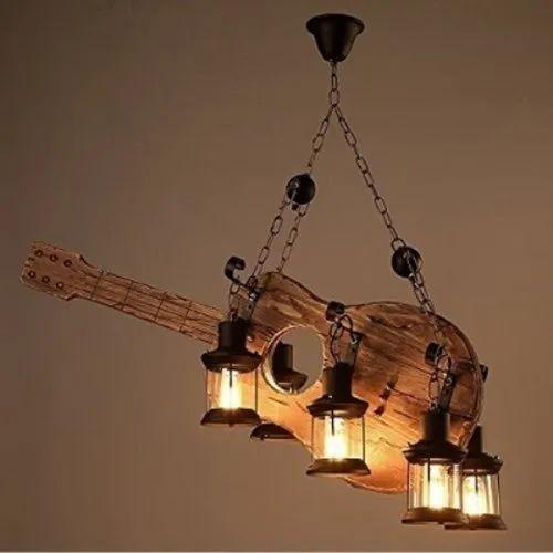 Fluorescent Bulb Contemporary Wooden Guitar Hanging Light