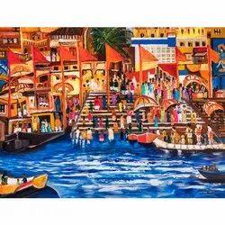 Hanging Wooden Canvas Varanasi Ghat Painting, Size: 43x55 Inch, Shape: Rectangular