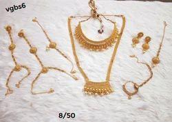 Golden Bridal Necklace Set Plated CZ 9PC