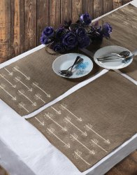 L-19 X W-13 Brown Color Embroidered Placemats
