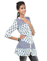 Cotton Block Print White & Black Boho Leaves Women Front Button Kurti