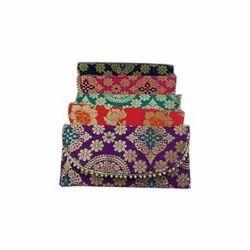 Raw Silk Fancy Handicraft Hand Bag, Size: 8 X 4 Inch