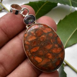 High Quality Solid 925 Sterling Silver Copper Turquoise Gemstone Handmade Fine Pendant Jewelry