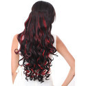 25 Inch Red Black Mix Highlighter Curly Extension