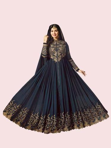 6c6fdc197d29 Georgette Golden Embroidered Navy Blue Anarkali Suit