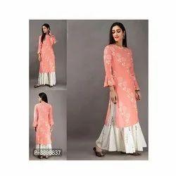 Self Pattern XL-XXL Ladies Cotton Printed Sharara Set