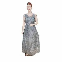 Party Wear Sleeveless Ladies Chiffon Embroidered Indi Western Gown, Size: S-xxl