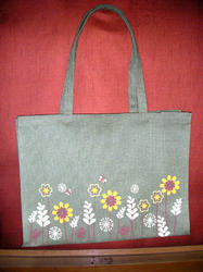 Printed Jute Bag With Self Handle