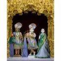 Marble Radha Krishna Balram Statue
