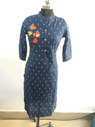 Ladies Blue Printed Kurti