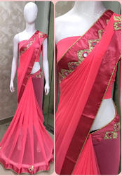 Georgette Pink Saree