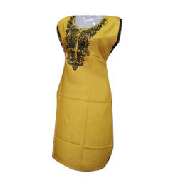 Ladies Cotton Sleeveless Embroidered Kurti, Size: XL