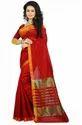 Red Wedding Wear Cotton Silk Woven Saree