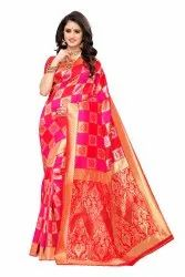 Banarasi Rich Pallu Party Wear Pink Red Saree With Blouse Piece