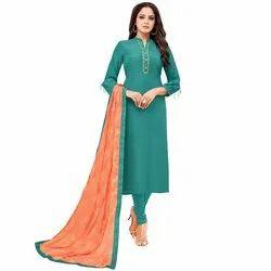 Rajnandini Teal Chanderi Silk Plain Semi-Stitched Dress Material With Printed Dupatta
