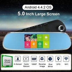 Car Rearview Mirror Monitor Bluetooth DVR 5 Android 4.4 Qua