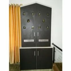 Double Door Wood Wooden Pooja Cupboard, For Home, Size: 5 To 6 Feet(height)